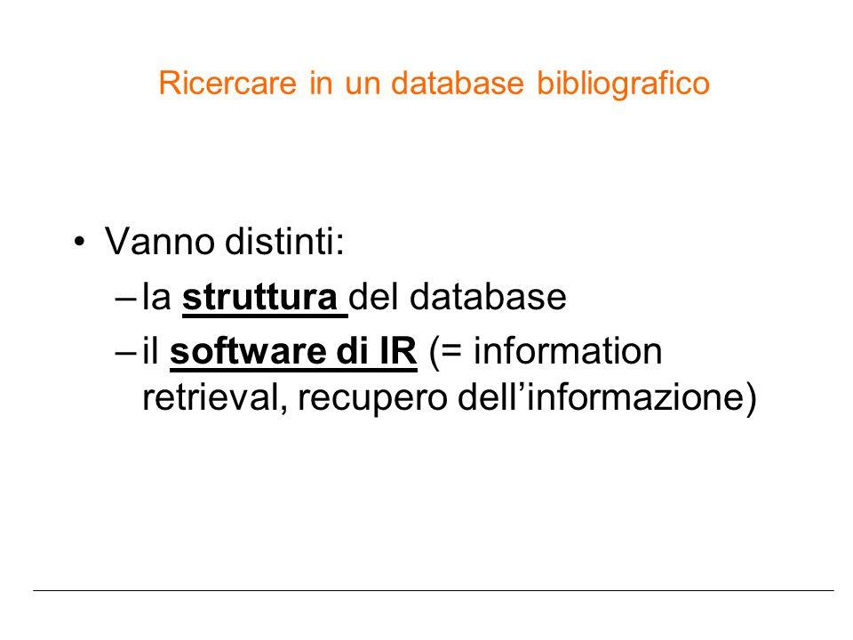 Ricercare in un database bibliografico Vanno distinti: –la struttura del database –il software di IR (= information retrieval, recupero dell'informazione)