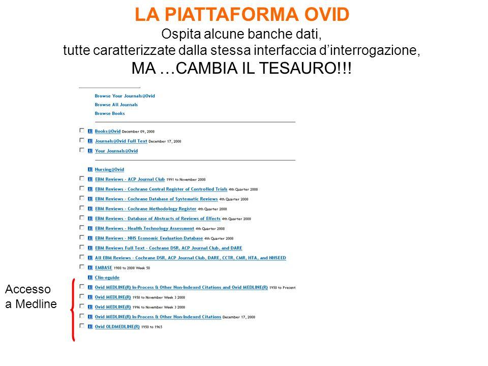 LA PIATTAFORMA OVID Ospita alcune banche dati, tutte caratterizzate dalla stessa interfaccia d'interrogazione, MA …CAMBIA IL TESAURO!!.