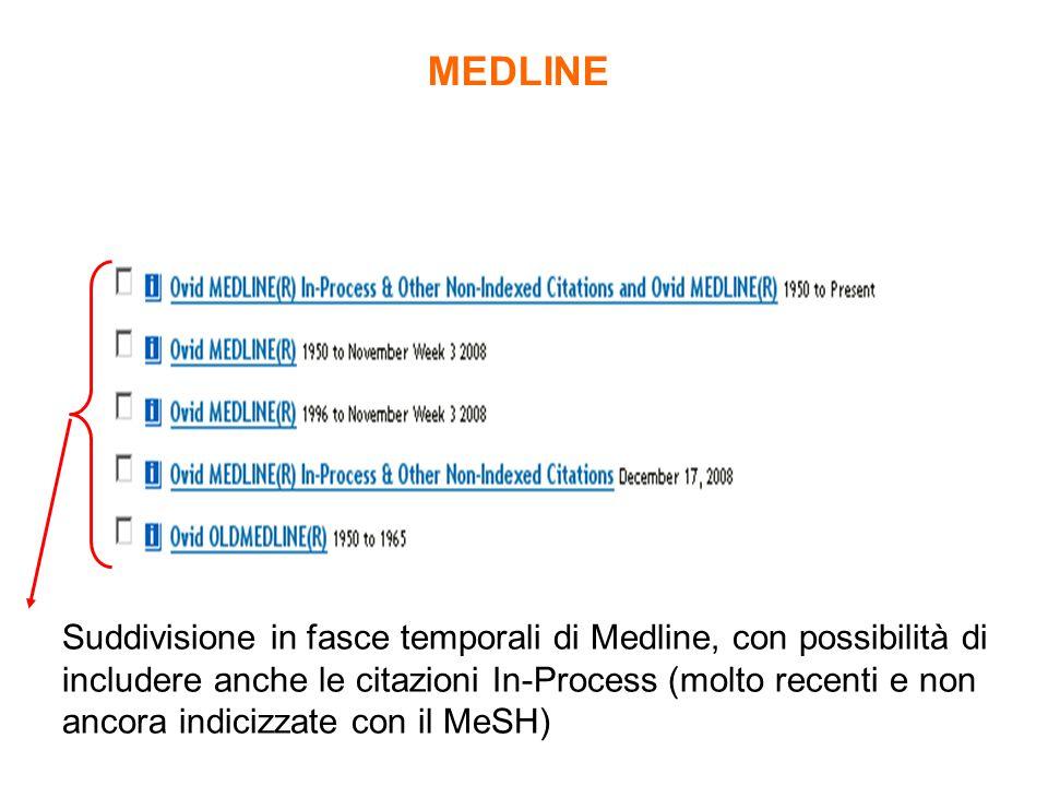 Suddivisione in fasce temporali di Medline, con possibilità di includere anche le citazioni In-Process (molto recenti e non ancora indicizzate con il MeSH) MEDLINE