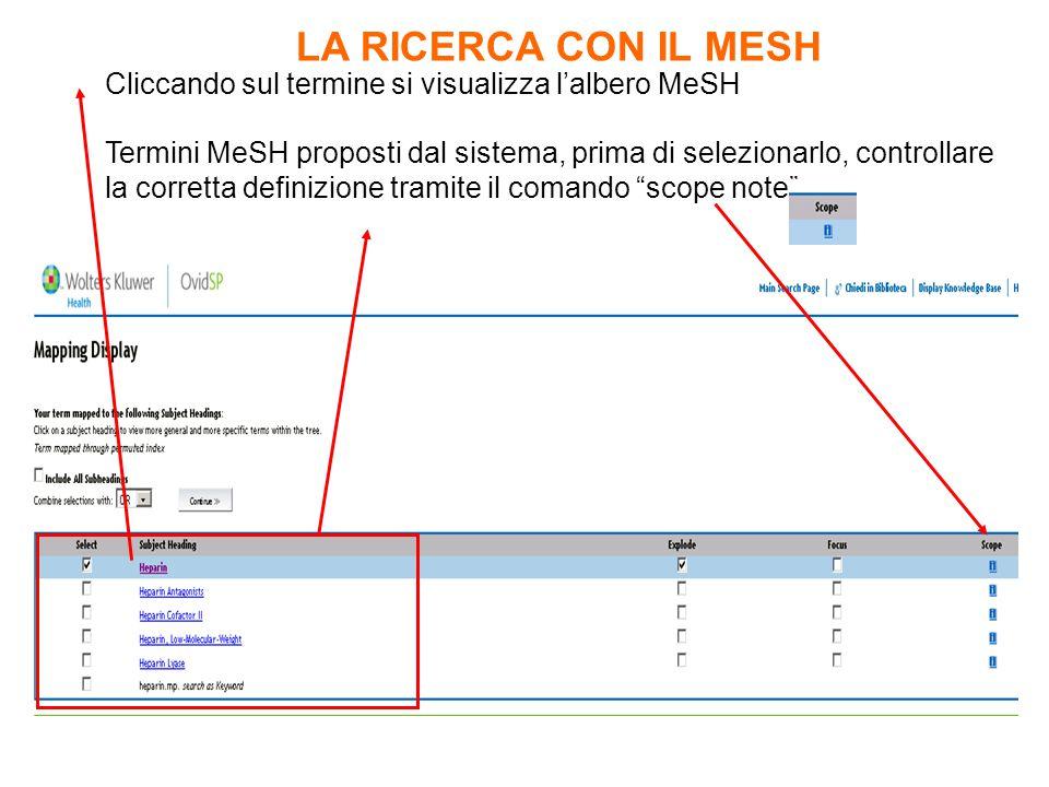 Termini MeSH proposti dal sistema, prima di selezionarlo, controllare la corretta definizione tramite il comando scope note Cliccando sul termine si visualizza l'albero MeSH LA RICERCA CON IL MESH