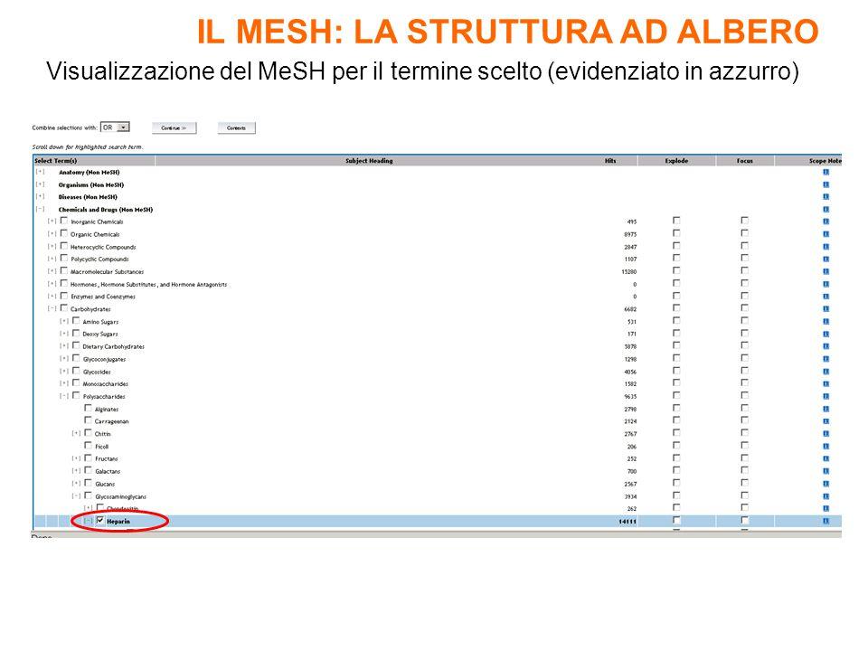 Visualizzazione del MeSH per il termine scelto (evidenziato in azzurro) IL MESH: LA STRUTTURA AD ALBERO