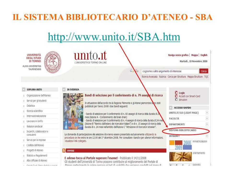 IL SISTEMA BIBLIOTECARIO D'ATENEO - SBA http://www.unito.it/SBA.htm