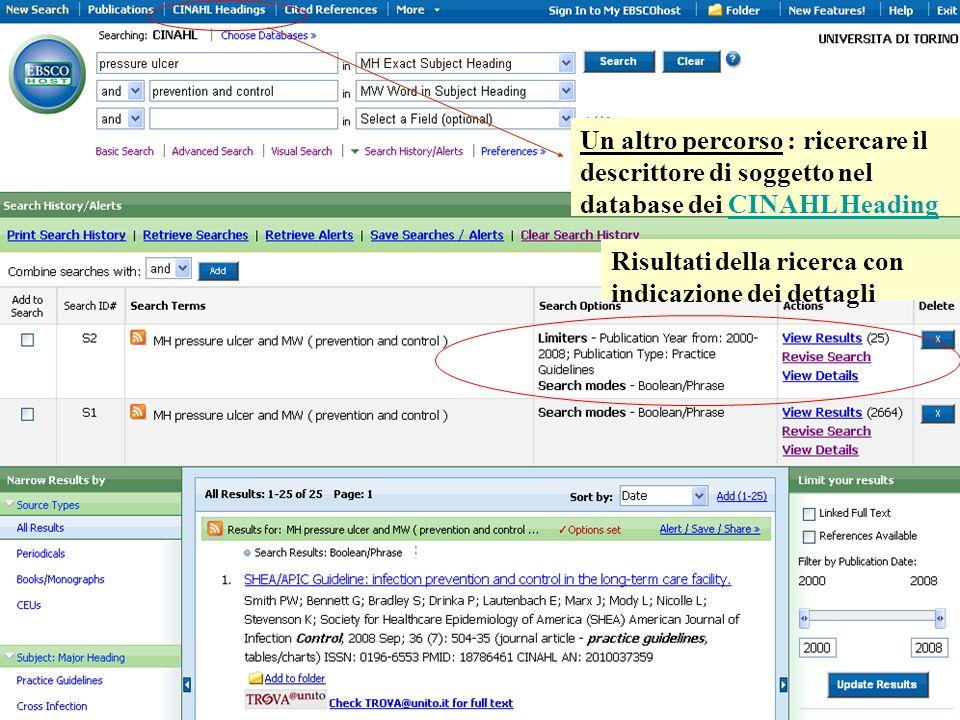Risultati della ricerca con indicazione dei dettagli Un altro percorso : ricercare il descrittore di soggetto nel database dei CINAHL HeadingCINAHL Heading