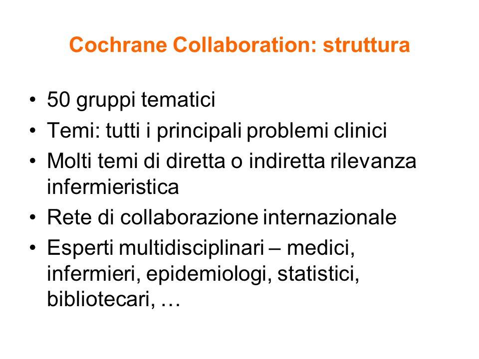Cochrane Collaboration: struttura 50 gruppi tematici Temi: tutti i principali problemi clinici Molti temi di diretta o indiretta rilevanza infermieristica Rete di collaborazione internazionale Esperti multidisciplinari – medici, infermieri, epidemiologi, statistici, bibliotecari, …