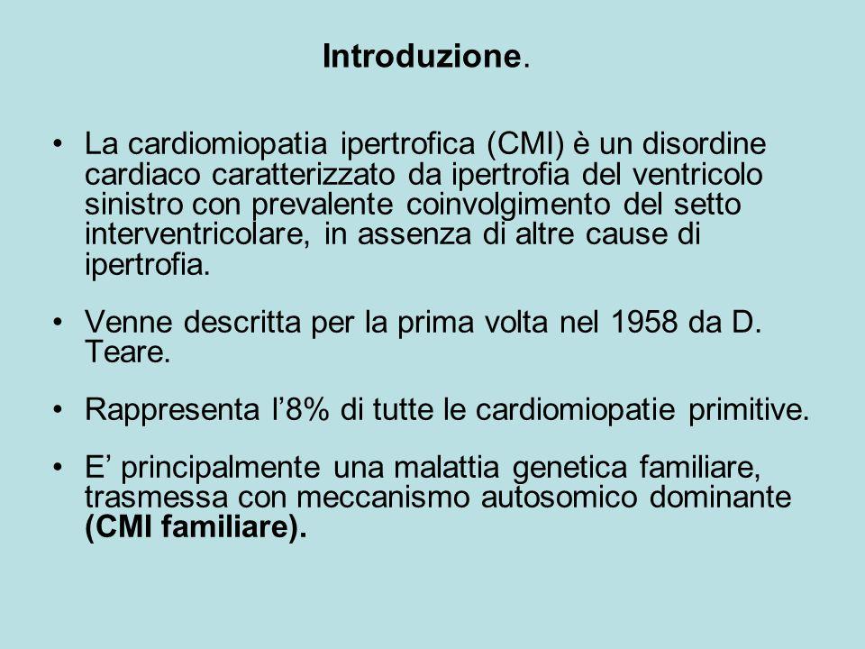 Nell'albero genealogico condotto per 3 generazioni di una famiglia numerosa (>70 membri) abbiamo riscontrato: 10 soggetti affetti da malattia cardiaca compatibile con CMI (8 maschi e 2 femmine), di cui 3 (maschi) deceduti di morte improvvisa.