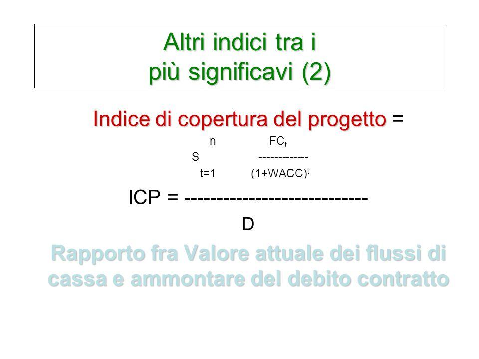 Altri indici tra i più significavi (2) Indice di copertura del progetto Indice di copertura del progetto = n FC t S ------------- t=1 (1+WACC) t ICP = ---------------------------- D Rapporto fra Valore attuale dei flussi di cassa e ammontare del debito contratto