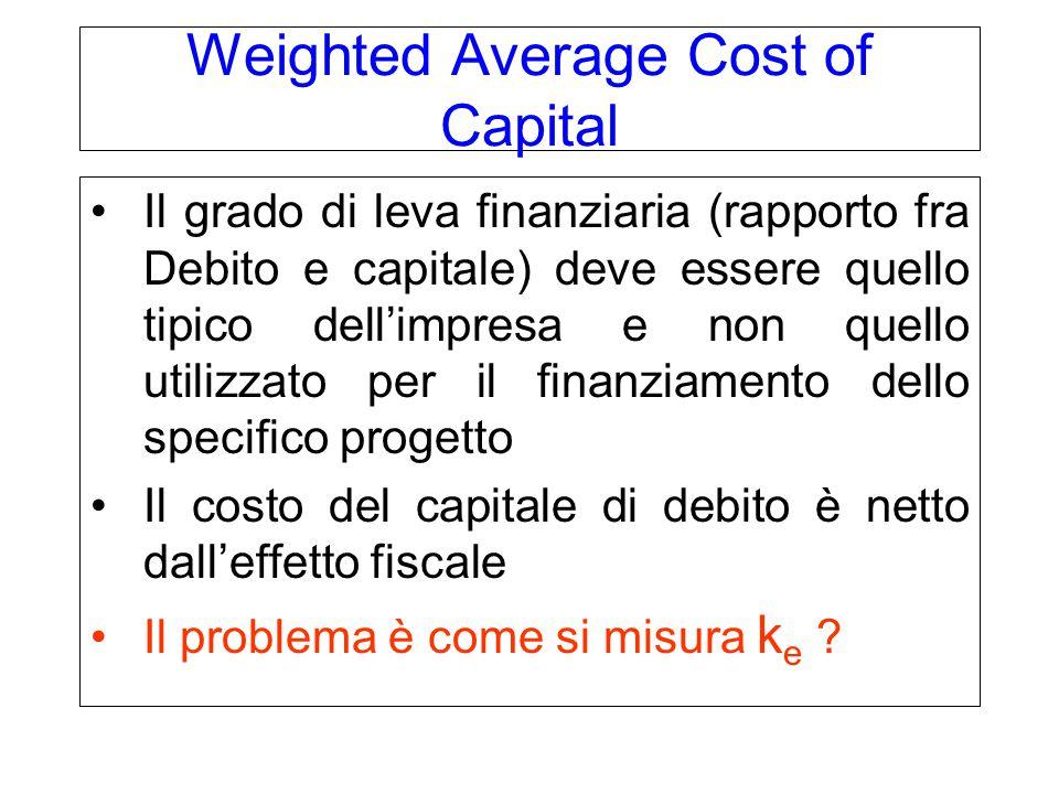 Weighted Average Cost of Capital Il grado di leva finanziaria (rapporto fra Debito e capitale) deve essere quello tipico dell'impresa e non quello utilizzato per il finanziamento dello specifico progetto Il costo del capitale di debito è netto dall'effetto fiscale Il problema è come si misura k e ?