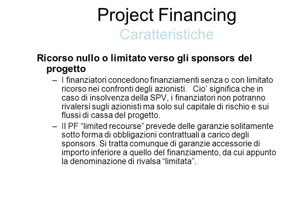 Ricorso nullo o limitato verso gli sponsors del progetto –I finanziatori concedono finanziamenti senza o con limitato ricorso nei confronti degli azionisti.