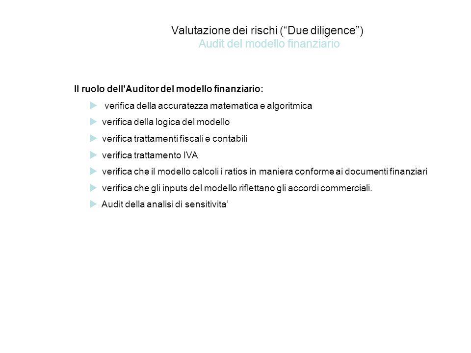 Valutazione dei rischi ( Due diligence ) Audit del modello finanziario Il ruolo dell'Auditor del modello finanziario:  verifica della accuratezza matematica e algoritmica  verifica della logica del modello  verifica trattamenti fiscali e contabili  verifica trattamento IVA  verifica che il modello calcoli i ratios in maniera conforme ai documenti finanziari  verifica che gli inputs del modello riflettano gli accordi commerciali.