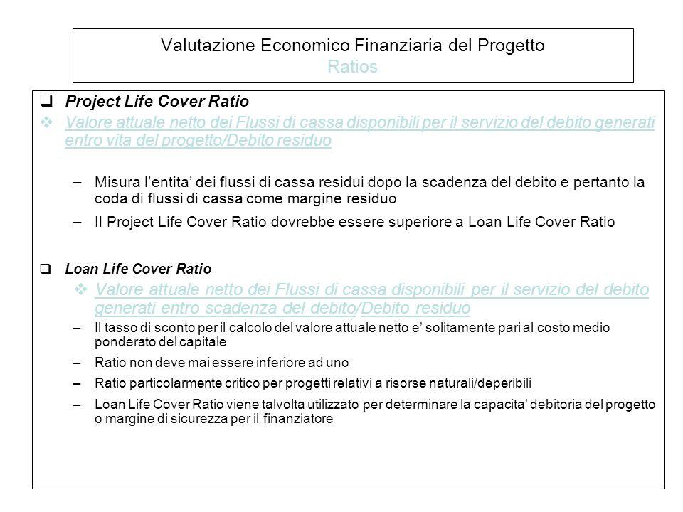  Project Life Cover Ratio  Valore attuale netto dei Flussi di cassa disponibili per il servizio del debito generati entro vita del progetto/Debito residuo –Misura l'entita' dei flussi di cassa residui dopo la scadenza del debito e pertanto la coda di flussi di cassa come margine residuo –Il Project Life Cover Ratio dovrebbe essere superiore a Loan Life Cover Ratio  Loan Life Cover Ratio  Valore attuale netto dei Flussi di cassa disponibili per il servizio del debito generati entro scadenza del debito/Debito residuo –Il tasso di sconto per il calcolo del valore attuale netto e' solitamente pari al costo medio ponderato del capitale –Ratio non deve mai essere inferiore ad uno –Ratio particolarmente critico per progetti relativi a risorse naturali/deperibili –Loan Life Cover Ratio viene talvolta utilizzato per determinare la capacita' debitoria del progetto o margine di sicurezza per il finanziatore Valutazione Economico Finanziaria del Progetto Ratios