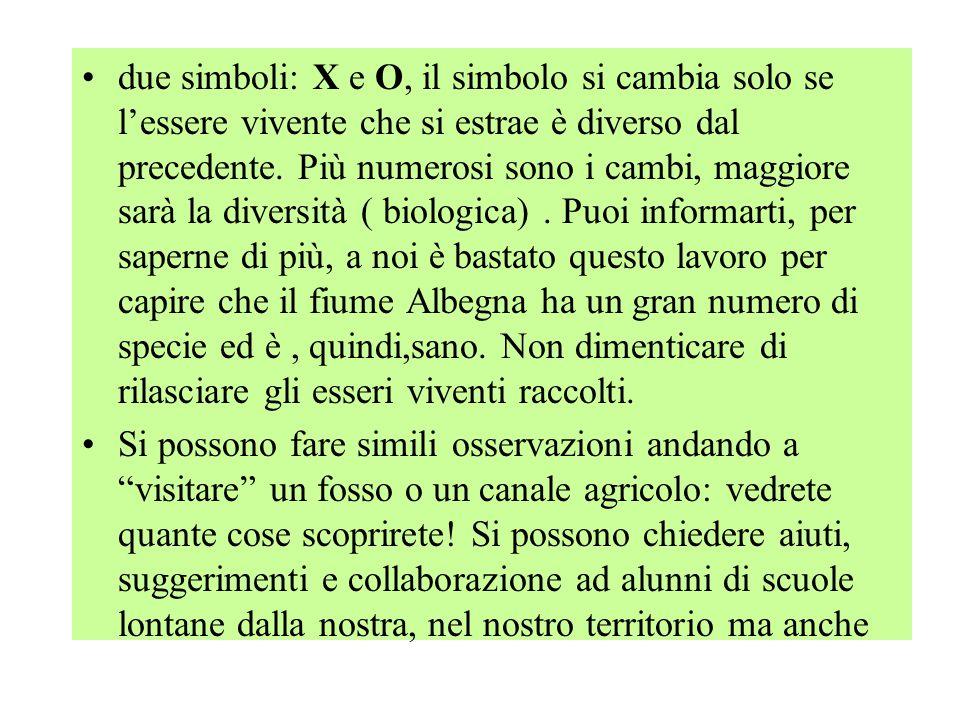 due simboli: X e O, il simbolo si cambia solo se l'essere vivente che si estrae è diverso dal precedente.