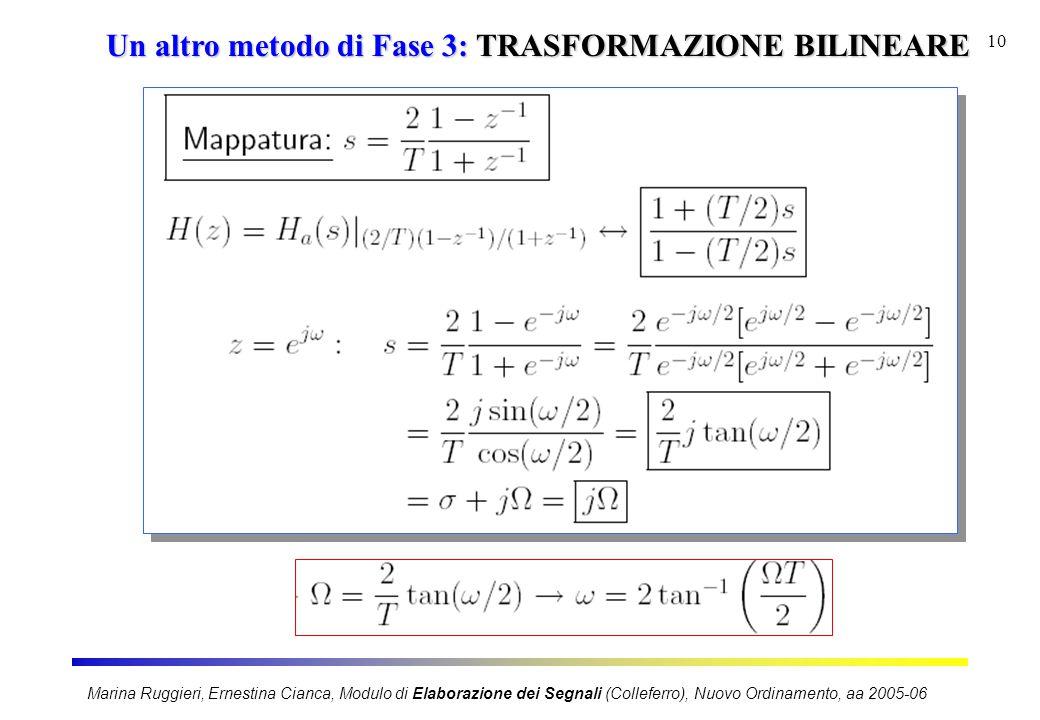 Marina Ruggieri, Ernestina Cianca, Modulo di Elaborazione dei Segnali (Colleferro), Nuovo Ordinamento, aa 2005-06 10 Un altro metodo di Fase 3: TRASFORMAZIONE BILINEARE