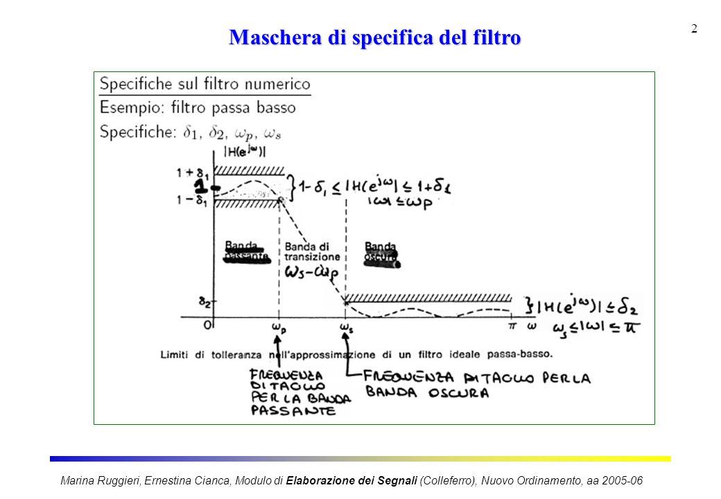 Marina Ruggieri, Ernestina Cianca, Modulo di Elaborazione dei Segnali (Colleferro), Nuovo Ordinamento, aa 2005-06 3 Fasi di progetto FASE 1 Le specifiche del filtro numerico vengono tradotte in specifiche su filtro analogico FASE 2 Si progetta il filtro analogico [h a (t), H a (s)] FASE 3 Si rientra nel numerico traducendo il filtro analogico progettato in uno numerico [h(n), H(z)].
