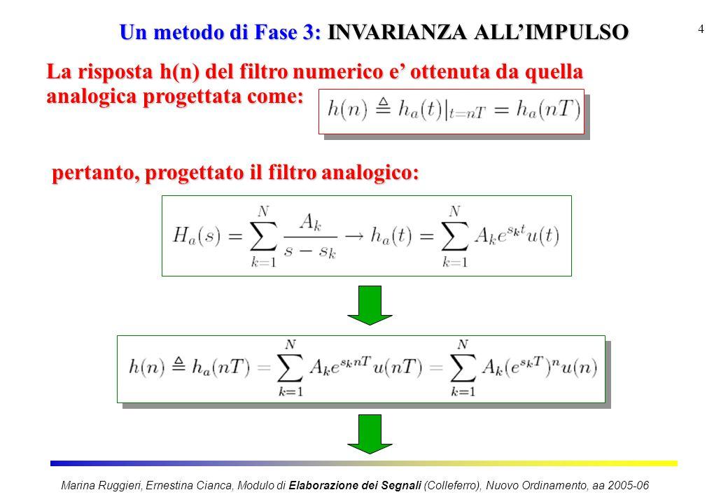 Marina Ruggieri, Ernestina Cianca, Modulo di Elaborazione dei Segnali (Colleferro), Nuovo Ordinamento, aa 2005-06 4 Un metodo di Fase 3: INVARIANZA AL