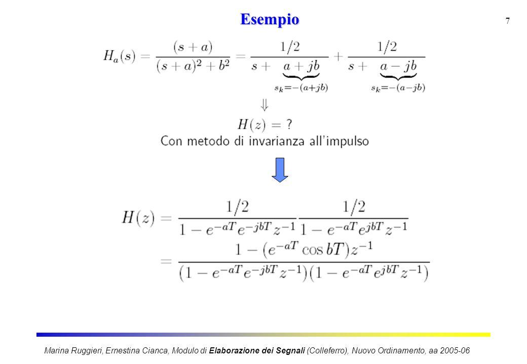Marina Ruggieri, Ernestina Cianca, Modulo di Elaborazione dei Segnali (Colleferro), Nuovo Ordinamento, aa 2005-06 7Esempio
