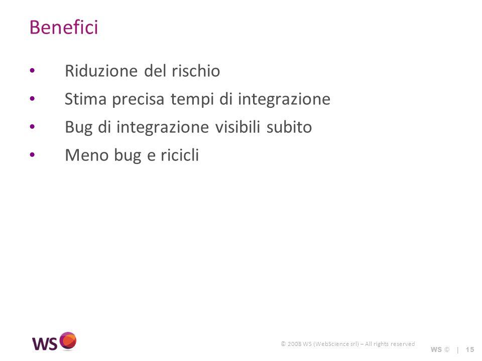 © 2008 WS (WebScience srl) – All rights reserved WS © | 15 Benefici Riduzione del rischio Stima precisa tempi di integrazione Bug di integrazione visibili subito Meno bug e ricicli