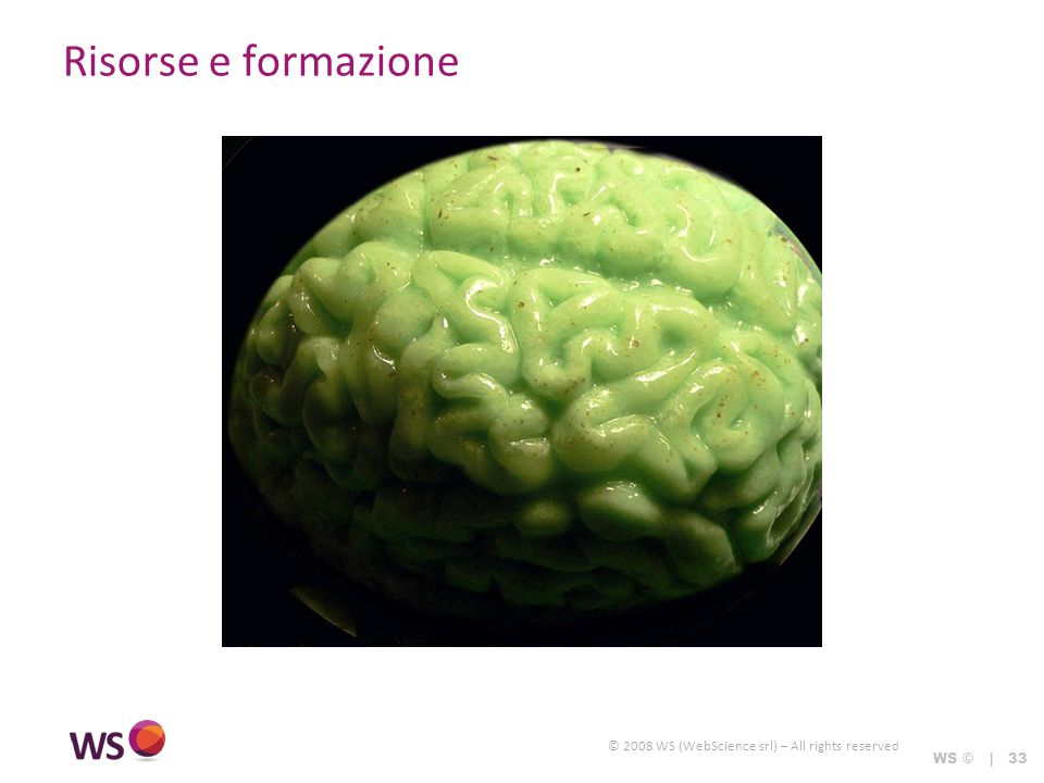 © 2008 WS (WebScience srl) – All rights reserved WS © | 33 Risorse e formazione