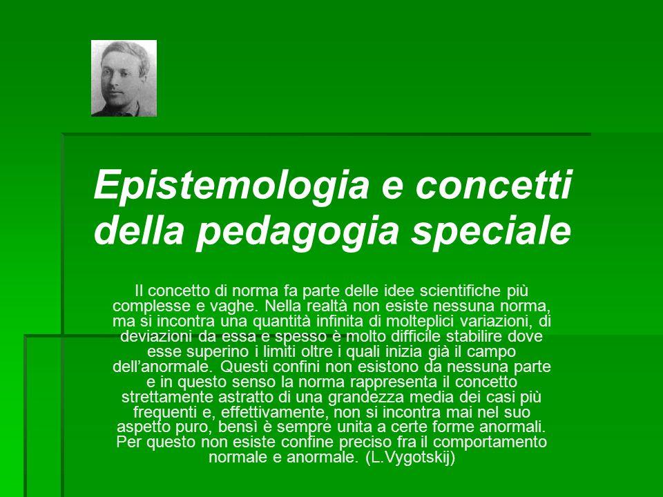 Concetti della pedagogia speciale  Deficit  Handicap  Disabilità  Patologia  Norma/normalità  Devianza/anormalità  Diversamente abile  Bisogni speciali  Integrazione/Inclusione