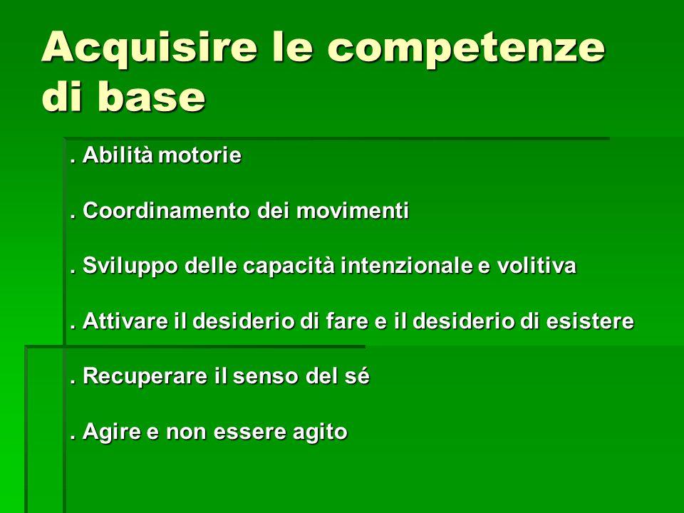 Acquisire le competenze di base. Abilità motorie. Coordinamento dei movimenti. Sviluppo delle capacità intenzionale e volitiva. Attivare il desiderio