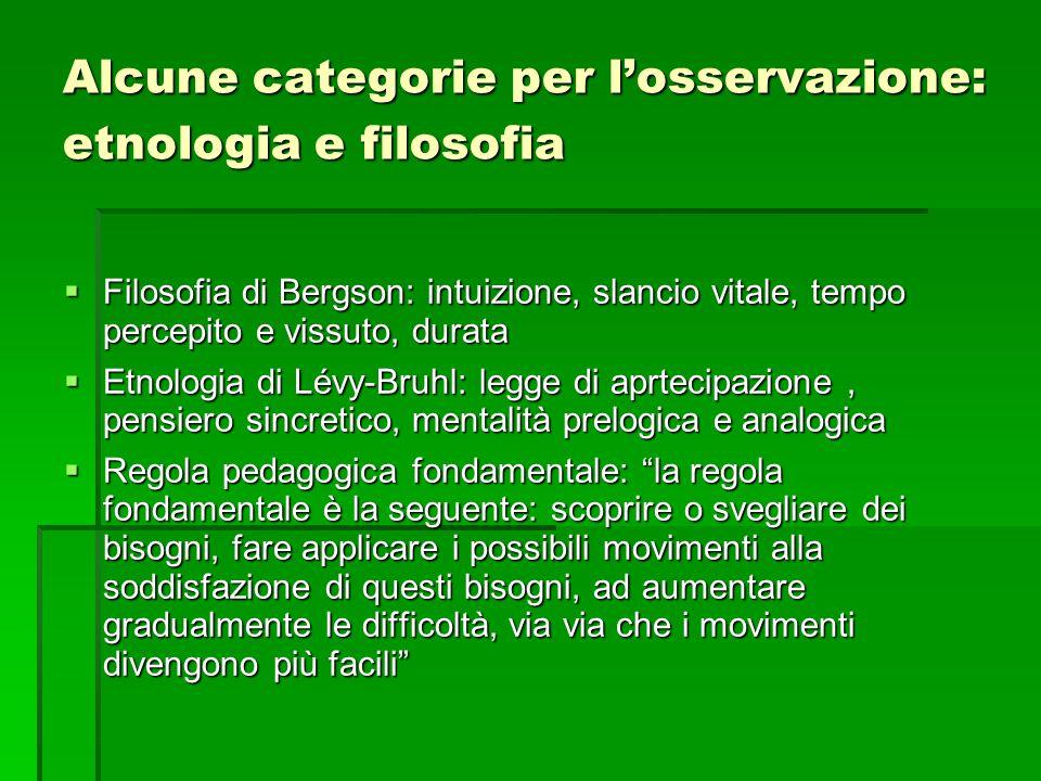 Alcune categorie per l'osservazione: etnologia e filosofia  Filosofia di Bergson: intuizione, slancio vitale, tempo percepito e vissuto, durata  Etn