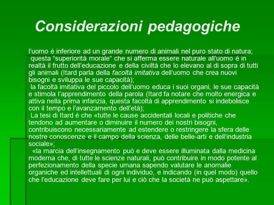 """Considerazioni pedagogiche  l'uomo é inferiore ad un grande numero di animali nel puro stato di natura;  questa """"superiorità morale"""" che si afferma"""
