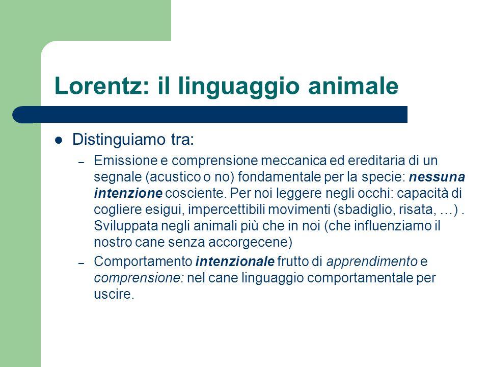 Lorentz: il linguaggio animale Distinguiamo tra: – Emissione e comprensione meccanica ed ereditaria di un segnale (acustico o no) fondamentale per la specie: nessuna intenzione cosciente.