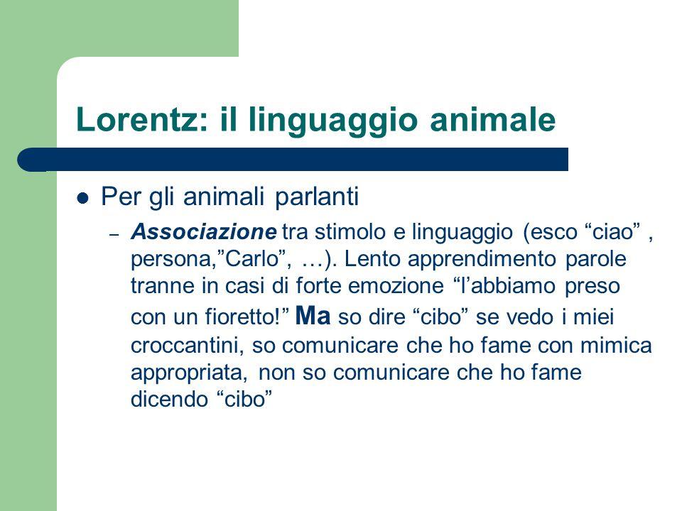 Lorentz: il linguaggio animale Per gli animali parlanti – Associazione tra stimolo e linguaggio (esco ciao , persona, Carlo , …).
