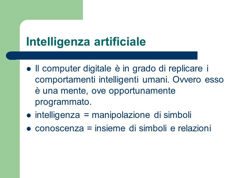 Intelligenza artificiale Il computer digitale è in grado di replicare i comportamenti intelligenti umani.