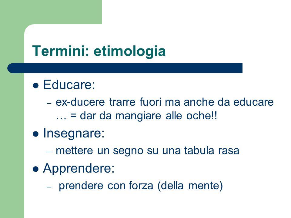 Termini: etimologia Educare: – ex-ducere trarre fuori ma anche da educare … = dar da mangiare alle oche!.