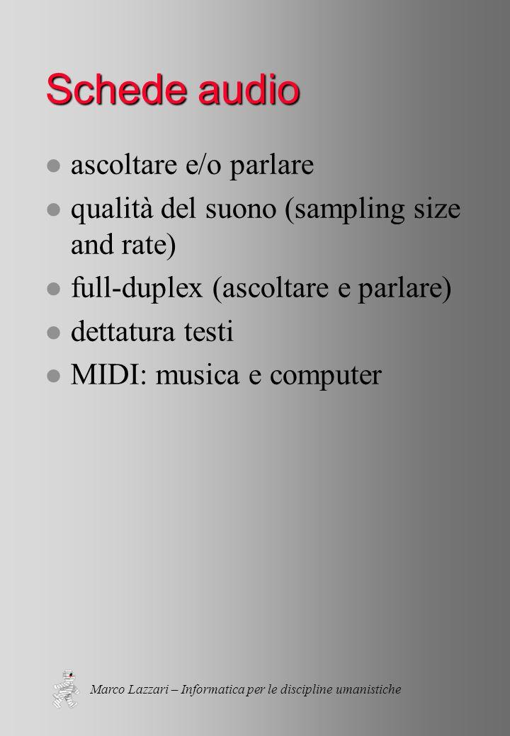 Marco Lazzari – Informatica per le discipline umanistiche Schede audio l ascoltare e/o parlare l qualità del suono (sampling size and rate) l full-duplex (ascoltare e parlare) l dettatura testi l MIDI: musica e computer