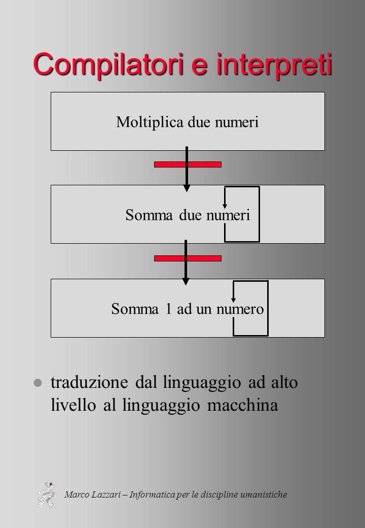Marco Lazzari – Informatica per le discipline umanistiche Somma 1 ad un numero Somma due numeri Moltiplica due numeri Compilatori e interpreti l traduzione dal linguaggio ad alto livello al linguaggio macchina