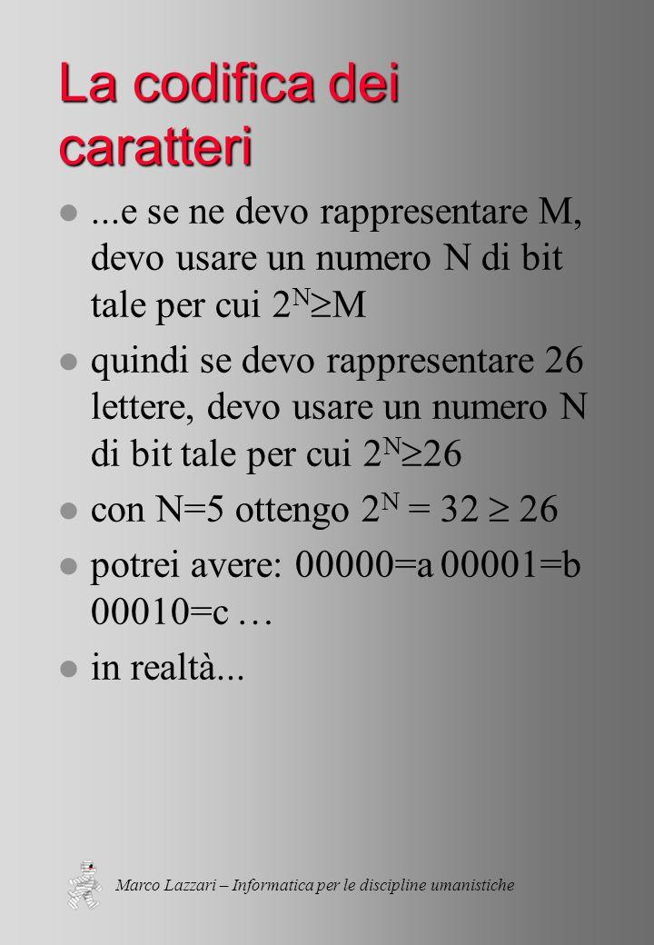 Marco Lazzari – Informatica per le discipline umanistiche La codifica dei caratteri l...e se ne devo rappresentare M, devo usare un numero N di bit tale per cui 2 N  M l quindi se devo rappresentare 26 lettere, devo usare un numero N di bit tale per cui 2 N  26 l con N=5 ottengo 2 N = 32  26 l potrei avere: 00000=a 00001=b 00010=c … l in realtà...