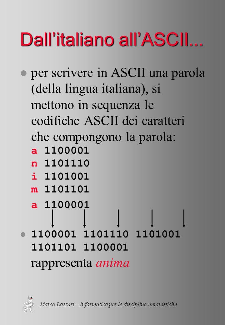 Marco Lazzari – Informatica per le discipline umanistiche Dall'italiano all'ASCII...