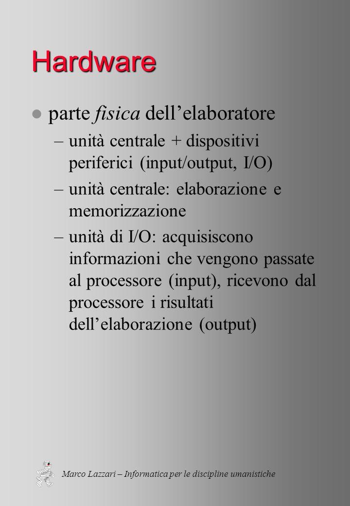 Marco Lazzari – Informatica per le discipline umanistiche Bus l scambio di dati: la via elettronica di trasporto informazioni tra le varie parti (dati, indirizzi, comandi di controllo) l ampiezza (banda) - velocità –ISA: 16 bit (486, Pentium); ~Mbps –PCI: 32-64 bit (Pentium); ~Gbps