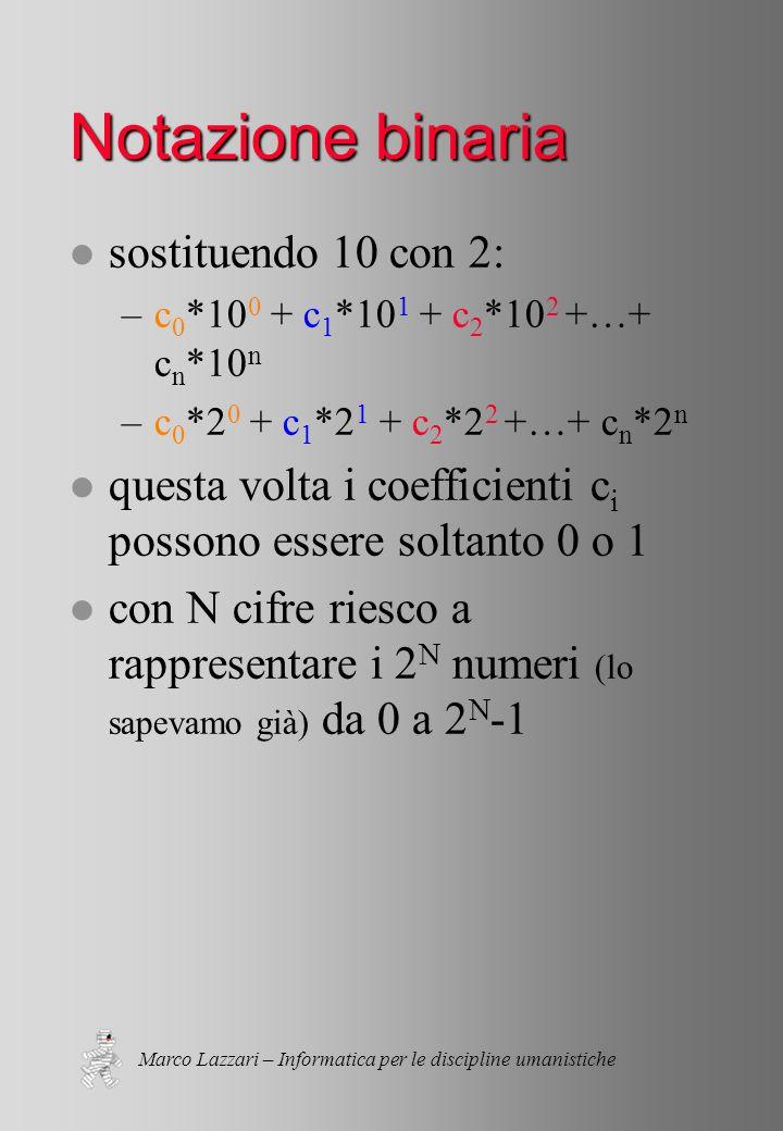 Marco Lazzari – Informatica per le discipline umanistiche Notazione binaria l sostituendo 10 con 2: –c 0 *10 0 + c 1 *10 1 + c 2 *10 2 +…+ c n *10 n –c 0 *2 0 + c 1 *2 1 + c 2 *2 2 +…+ c n *2 n l questa volta i coefficienti c i possono essere soltanto 0 o 1 l con N cifre riesco a rappresentare i 2 N numeri (lo sapevamo già) da 0 a 2 N -1