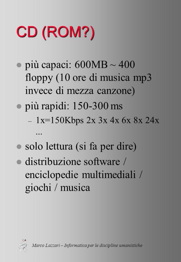 Marco Lazzari – Informatica per le discipline umanistiche CD (ROM ) l più capaci: 600MB ~ 400 floppy (10 ore di musica mp3 invece di mezza canzone) l più rapidi: 150-300 ms – 1x=150Kbps 2x 3x 4x 6x 8x 24x...