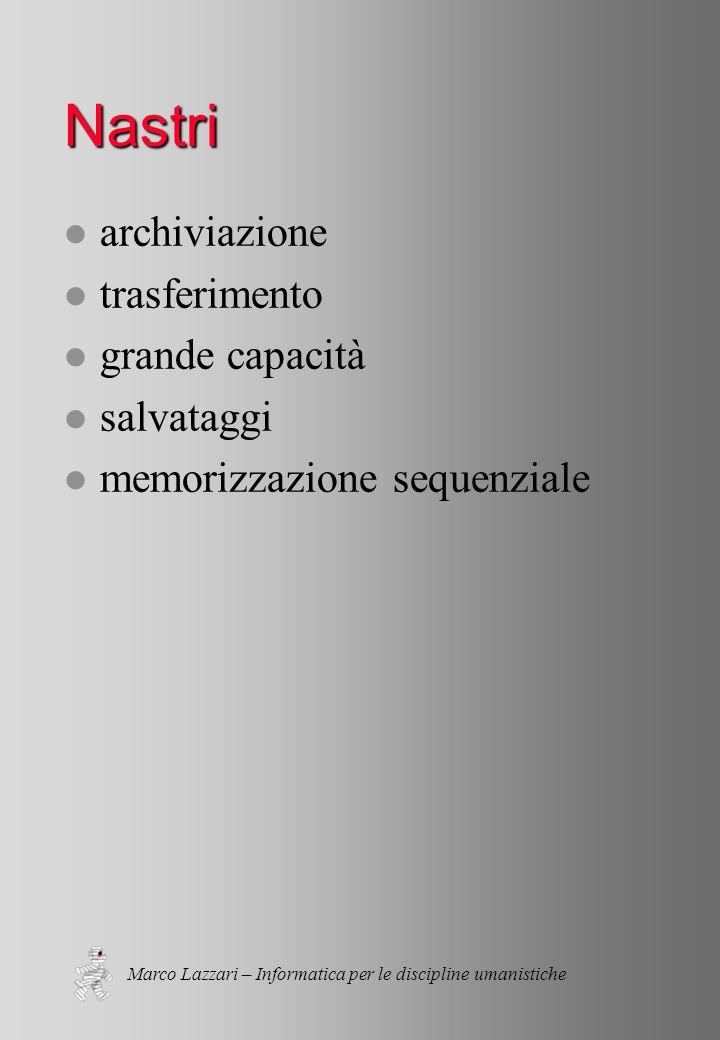 Marco Lazzari – Informatica per le discipline umanistiche Nastri l archiviazione l trasferimento l grande capacità l salvataggi l memorizzazione sequenziale