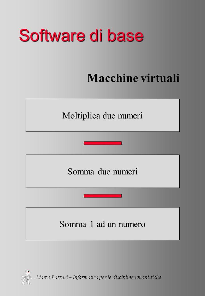 Marco Lazzari – Informatica per le discipline umanistiche Software di base Somma 1 ad un numero Somma due numeri Moltiplica due numeri Macchine virtuali