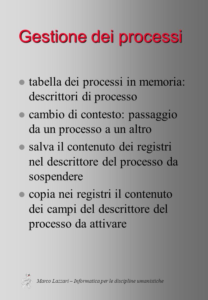Marco Lazzari – Informatica per le discipline umanistiche Gestione dei processi l tabella dei processi in memoria: descrittori di processo l cambio di contesto: passaggio da un processo a un altro l salva il contenuto dei registri nel descrittore del processo da sospendere l copia nei registri il contenuto dei campi del descrittore del processo da attivare