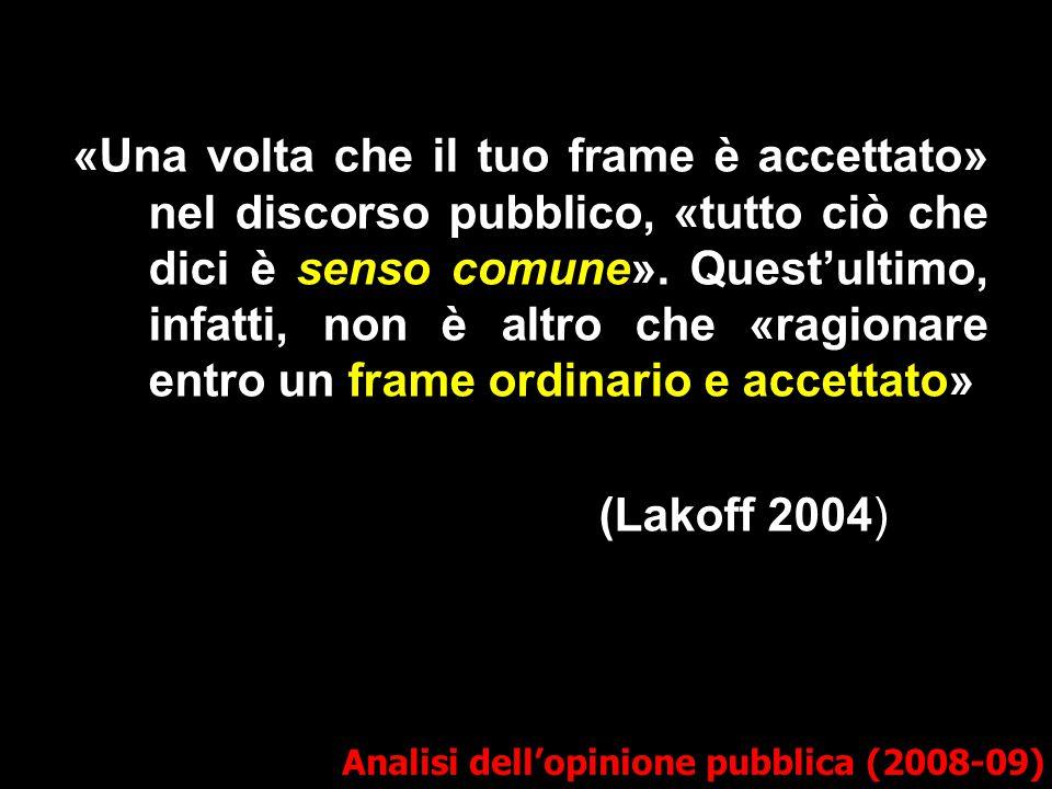 «Una volta che il tuo frame è accettato» nel discorso pubblico, «tutto ciò che dici è senso comune». Quest'ultimo, infatti, non è altro che «ragionare
