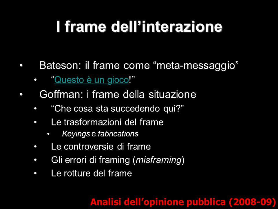 """I frame dell'interazione Bateson: il frame come """"meta-messaggio"""" """"Questo è un gioco!""""Questo è un gioco Goffman: i frame della situazione """"Che cosa sta"""