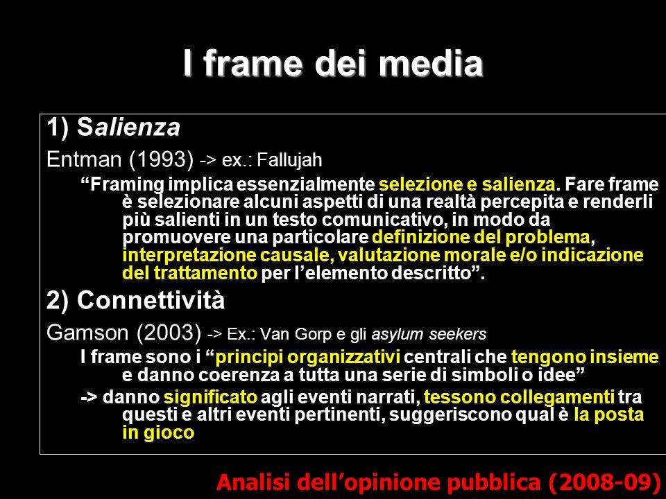 "I frame dei media 1) Salienza Entman (1993) -> ex.: Fallujah ""Framing implica essenzialmente selezione e salienza. Fare frame è selezionare alcuni asp"