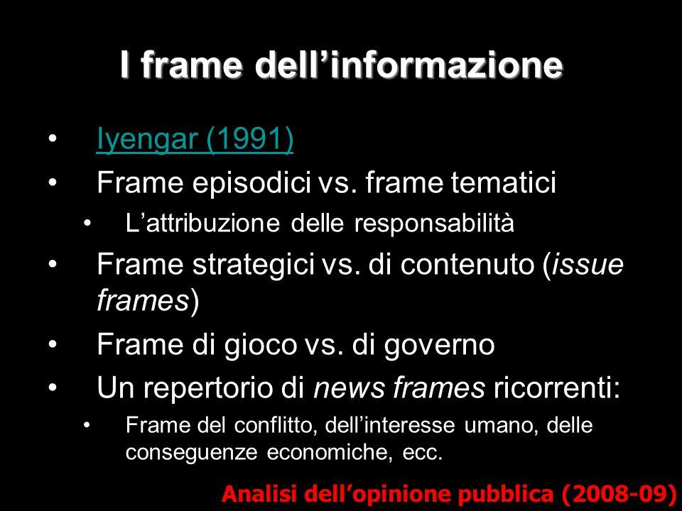I frame dell'informazione Iyengar (1991) Frame episodici vs. frame tematici L'attribuzione delle responsabilità Frame strategici vs. di contenuto (iss
