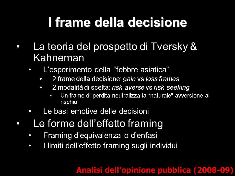 """I frame della decisione La teoria del prospetto di Tversky & Kahneman L'esperimento della """"febbre asiatica"""" 2 frame della decisione: gain vs loss fram"""