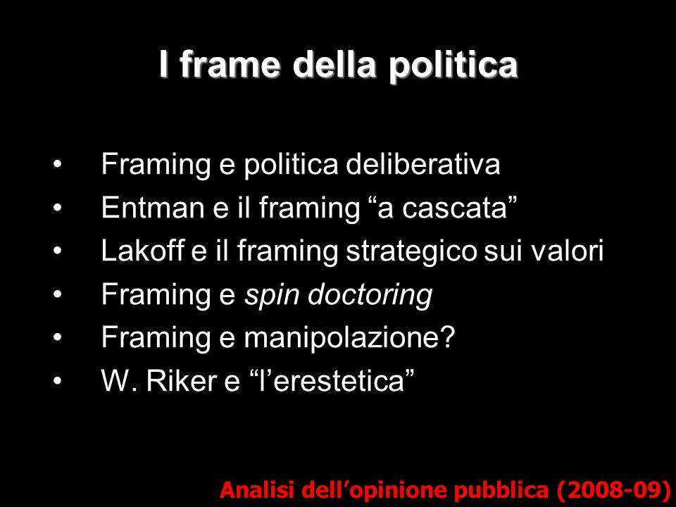 """I frame della politica Framing e politica deliberativa Entman e il framing """"a cascata"""" Lakoff e il framing strategico sui valori Framing e spin doctor"""