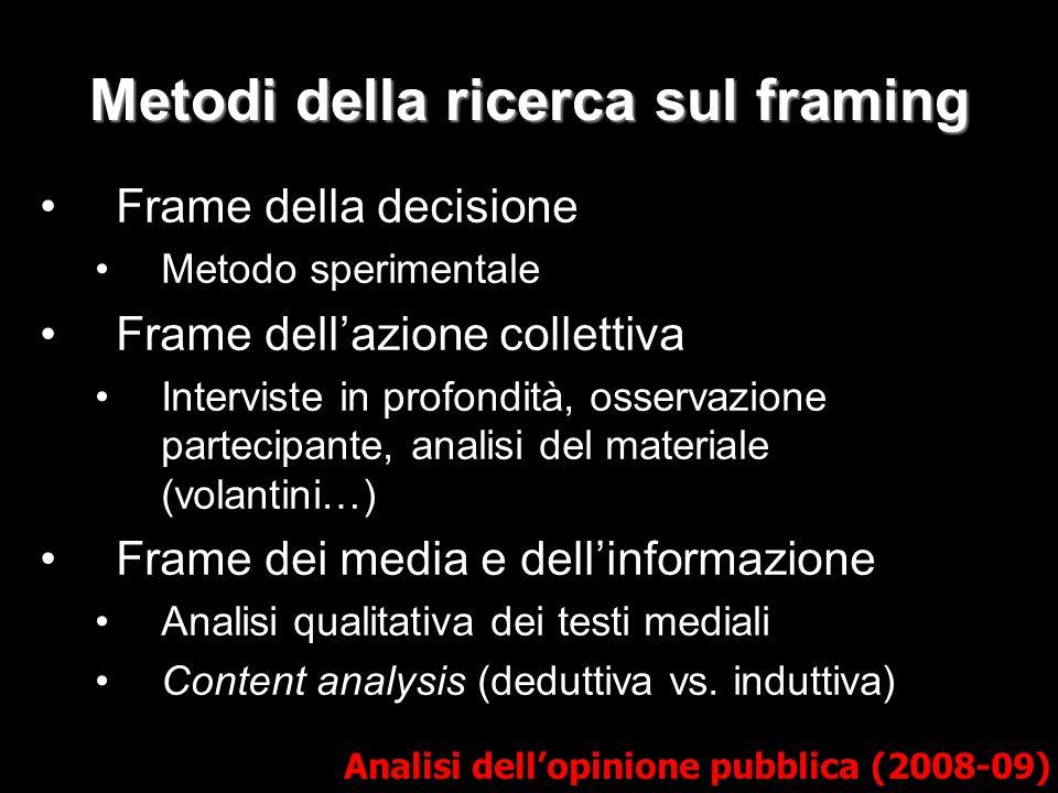 Metodi della ricerca sul framing Frame della decisione Metodo sperimentale Frame dell'azione collettiva Interviste in profondità, osservazione parteci