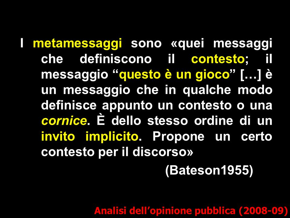 """I metamessaggi sono «quei messaggi che definiscono il contesto; il messaggio """"questo è un gioco"""" […] è un messaggio che in qualche modo definisce appu"""
