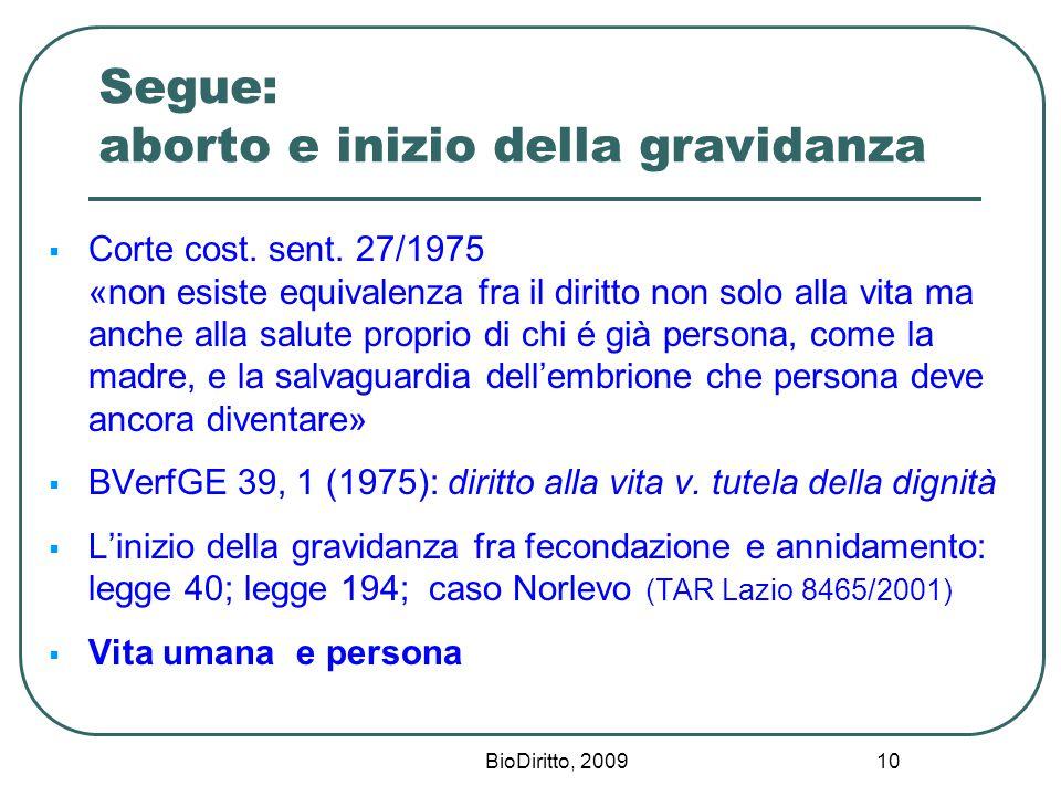 BioDiritto, 2009 10 Segue: aborto e inizio della gravidanza  Corte cost.