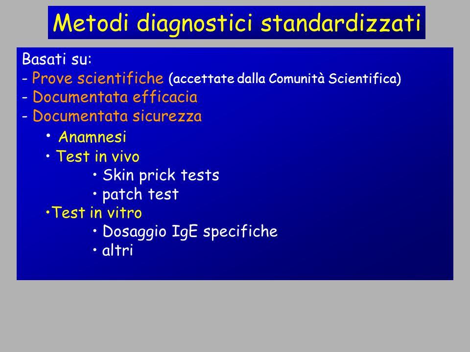 Metodi diagnostici standardizzati Basati su: - Prove scientifiche (accettate dalla Comunità Scientifica) - Documentata efficacia - Documentata sicurezza Anamnesi Test in vivo Skin prick tests patch test Test in vitro Dosaggio IgE specifiche altri
