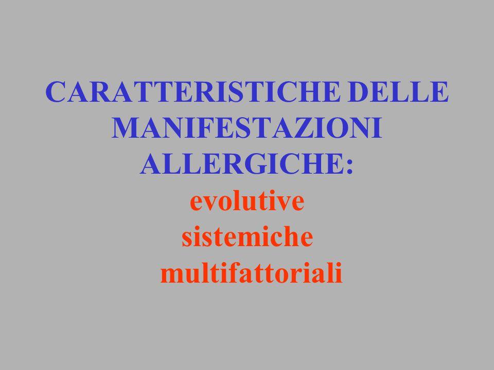 CARATTERISTICHE DELLE MANIFESTAZIONI ALLERGICHE: evolutive sistemiche multifattoriali